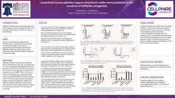 ISTH 2021 Lyophilized human platelets support thrombosis unlike normal platelets presence of GPIIb/IIIa antagonists
