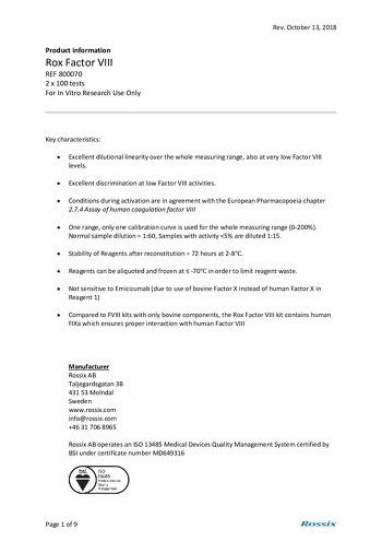 Rox FVIII Information Produit